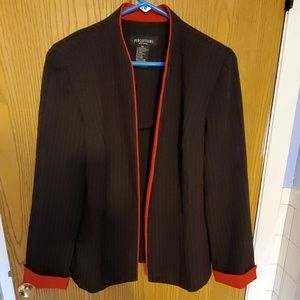 Perceptions black and red pinstripe blazer